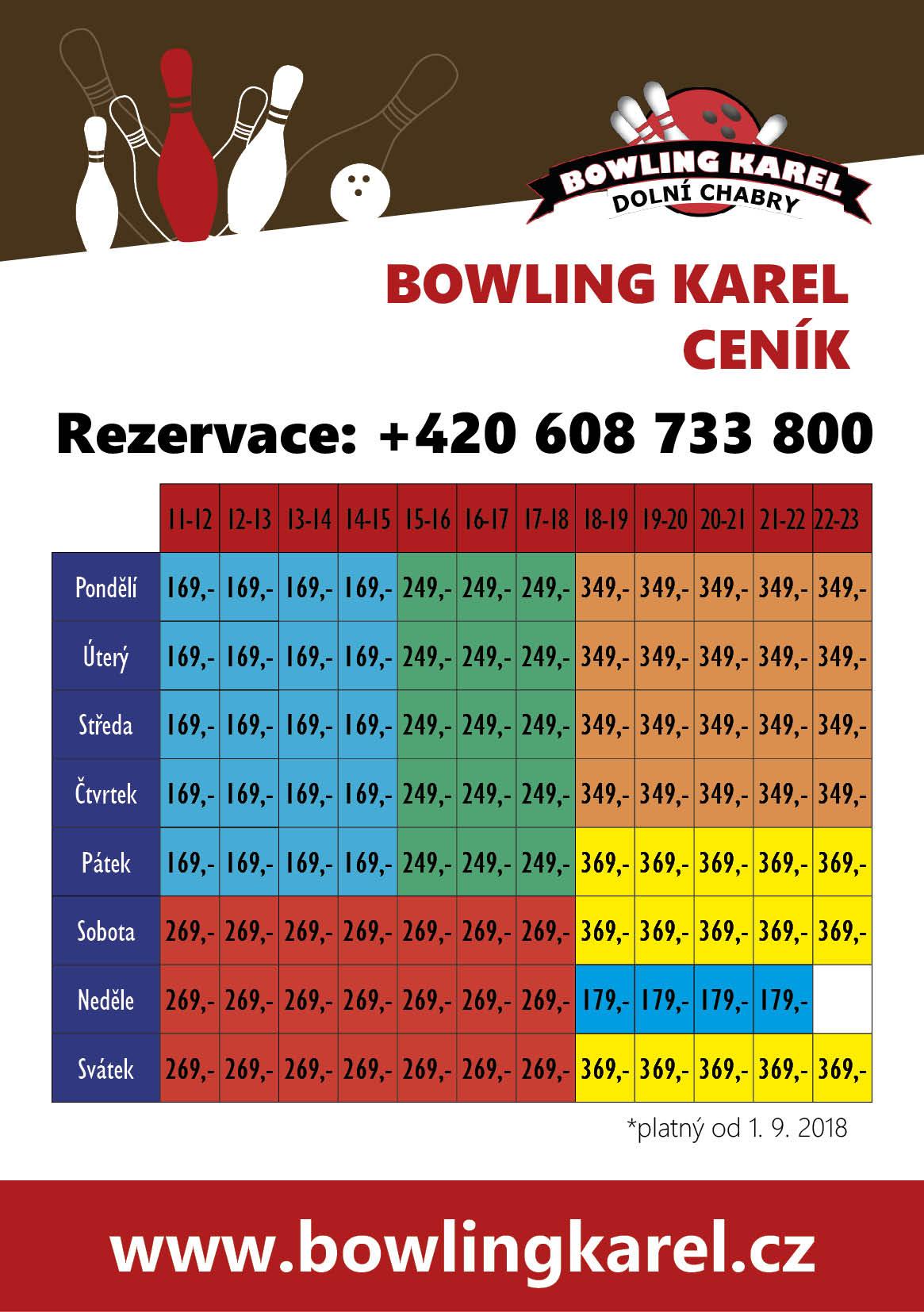 ceník bowling KAREL