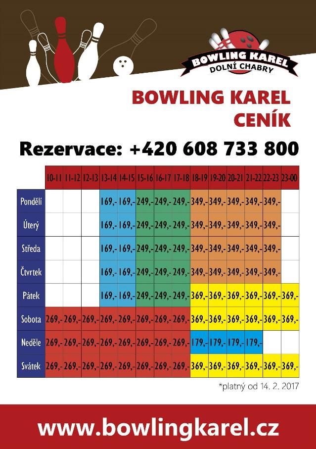 Ceník bowlingu KAREL